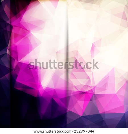 Abstract pink card or invitation template with triangle pattern background and volume glass effect. - stock vector