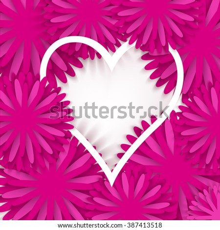 Abstract Pink Floral Greeting card. Background with paper cut Frame Flowers and heart. Trendy Design Template. Vector illustration. - stock vector