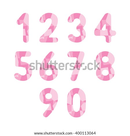 Abstract pink numbers for design.