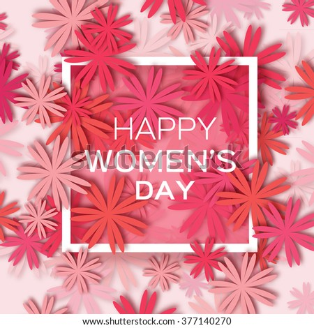 Abstract Pink Red Floral Greeting card - International Happy Women's Day - 8 March holiday background with paper cut Frame Flowers. Trendy Design Template. Vector illustration.
