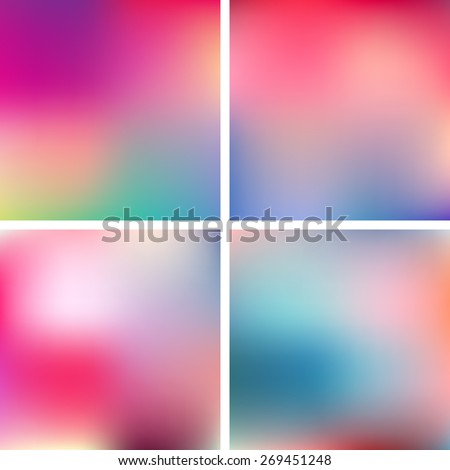 Abstract pink, teal, purple and green blur color gradient backgrounds for web, presentations and prints. Vector illustration. - stock vector
