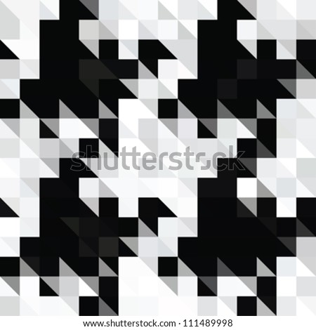 Abstract pixels hounds tooth illusion  textured background. Seamless pattern. Vector. - stock vector