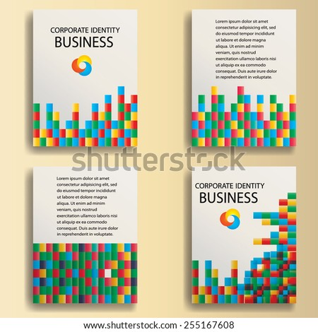 Abstract Pixels Mosaic. Abstract Brochure Design. Magazine or Marketing Cover. Company Presentation. Vector illustration.  - stock vector