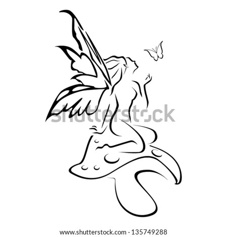 Abstract pixie on mushroom vector - stock vector