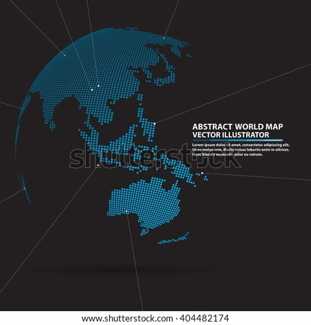 abstract planet,  Global network connection, elements Vector world map - stock vector