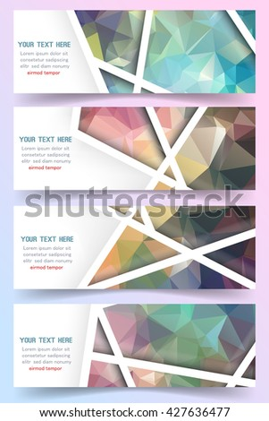 Abstract polygon banner set. Business banner set. Banners set web. Banners set art. Banners set new. Banners set best. Banners set image. Banners set shape. Vector - stock vector