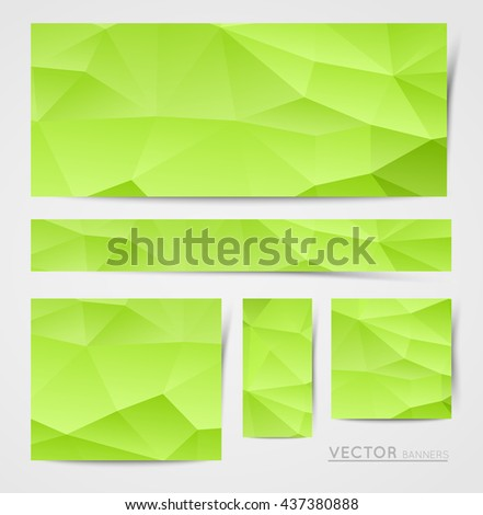 abstract polygon crystal banners collection, design element