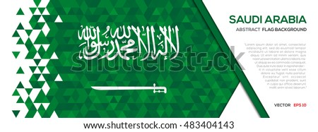 Abstract polygon Geometric Shape background.Saudi Arabia flag