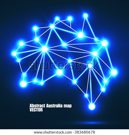 Abstract polygonal Australia map with glowing dots and lines, network connections. Vector illustration. Eps 10 - stock vector