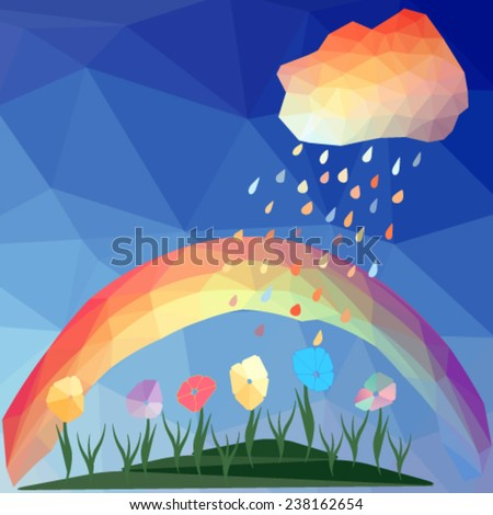 abstract polygonal background with rain drops, multicolored cloud and rainbow. Vector, EPS 10 - stock vector