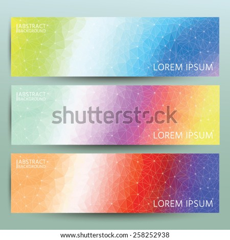 Abstract polygonal banner background set. Trendy geometric triangle hipster background. - stock vector