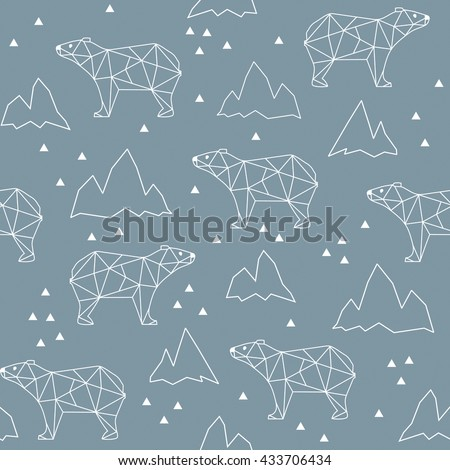 Abstract polygonal bear seamless pattern background.  Grizzly in the mountains - stock vector