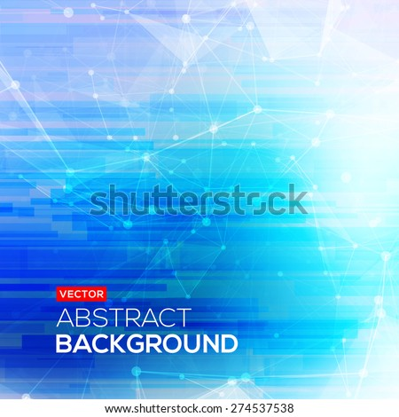 Abstract polygonal blue low poly bright background with connecting dots and lines. Connection structure. Vector science background. Polygonal vector background. Futuristic HUD background. - stock vector
