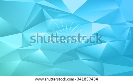abstract polygonal blue winter vibrant  background with vintage line symbol - stock vector