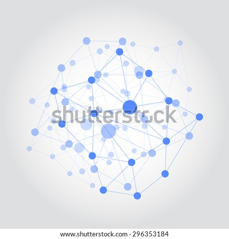 Abstract polygonal concept with connecting dots and lines vector illustration - stock vector