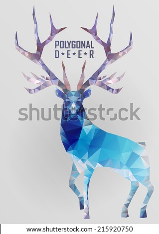 Abstract polygonal deer. Geometric hipster illustration. Polygonal antlers. - stock vector