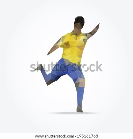 Abstract polygonal football soccer player, vector illustration - stock vector