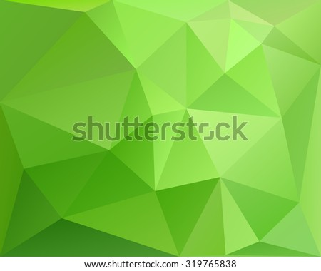 Abstract polygonal geometric background, green colored, with gradient, in vector - stock vector