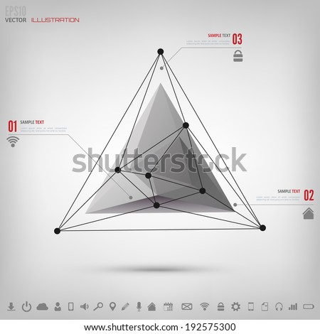 Abstract polygonal geometric background with web icons. Triangle elements. - stock vector