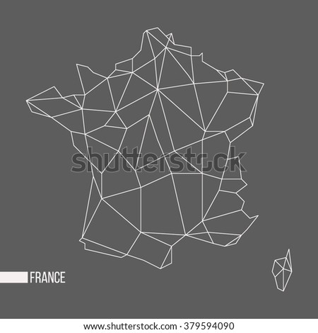 Abstract polygonal geometric France, Corsica minimalist vector map isolated on gray background - stock vector