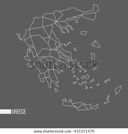 Abstract polygonal geometric Greece minimalistic vector map isolated on grey background - stock vector