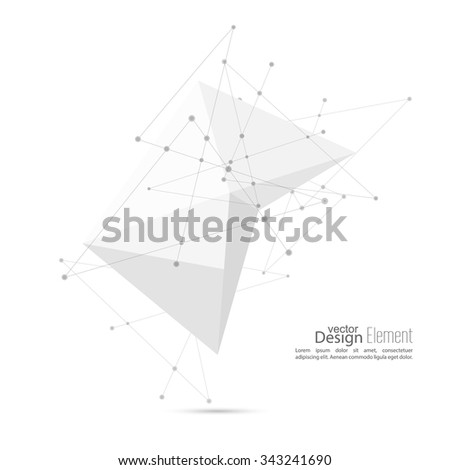 Abstract polygonal geometric shape with particle, molecule structure. low poly and minimal style. Vector illustration - stock vector