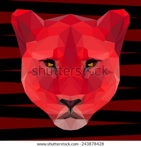 Abstract polygonal geometric triangle bright red colored lion portrait background for use in design - stock vector