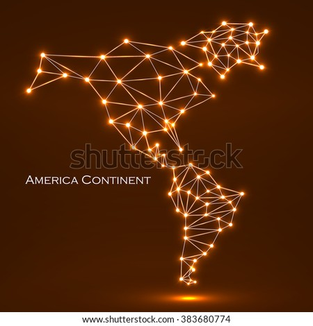 Abstract polygonal  map America continent with glowing dots and lines, network connections. Vector illustration. Eps 10 - stock vector