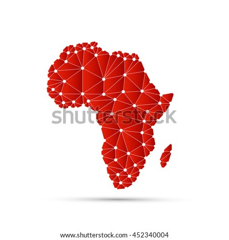 Abstract Polygonal Map of Africa with Digital Network Connections - Minimal Modern Style Technology Background, Creative Design Illustration Template - stock vector