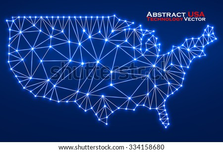 Abstract polygonal  map USA with glowing dots and lines, network connections. Vector illustration. Eps 10