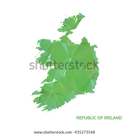 abstract polygonal republic of ireland map. poly low isolated vector. polygon map - stock vector