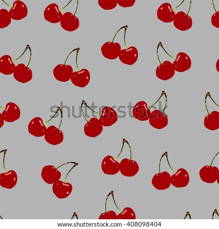Abstract polygonal seamless texture, image with low red cherry, summer pattern on the violet background, picture with berry, vector illustration