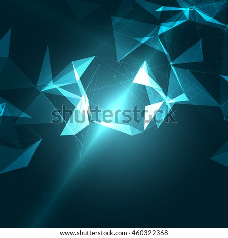 Abstract Polygonal Space Blue Background with Connecting Dots and Lines | EPS10 Vector Illustration