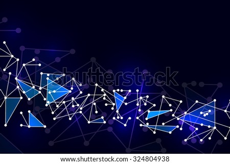 Abstract polygonal space low poly dark background with connecting dots and lines. - stock vector