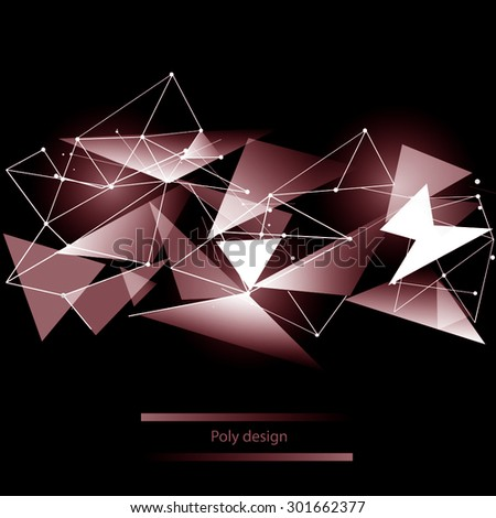 Abstract polygonal space low poly dark background with connecting dots and lines. Connection structure. Vector science background. Polygonal vector background. Futuristic HUD background. Techno
