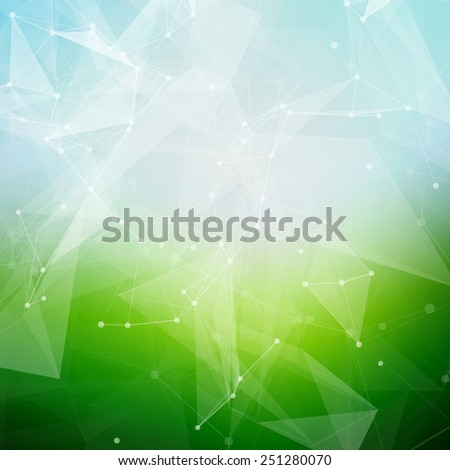 Abstract polygonal summer time low poly bright background with connecting dots and lines.  Vector illustration of a glowing summer time background. - stock vector
