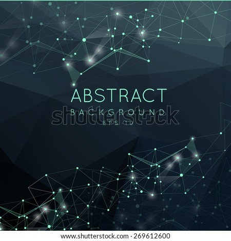 Abstract polygonal surface background. Low poly mesh design with connecting dot and line. Connection triangle structure.  Vector geometry futuristic decoration. Greeting card. Spectrum concept. - stock vector