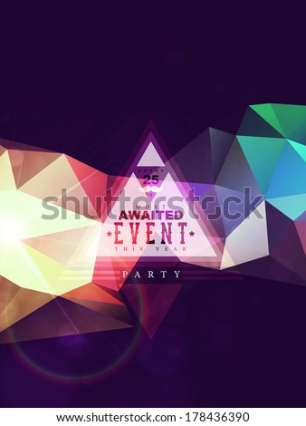 Abstract polygonal triangles poster for hipsters party. Hipster theme label. Mustache.  - stock vector