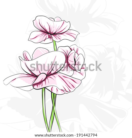 Abstract poppies on white background - stock vector