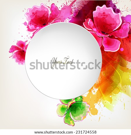 abstract poppy with colorful elements, blots and place for your text. Vector design - stock vector