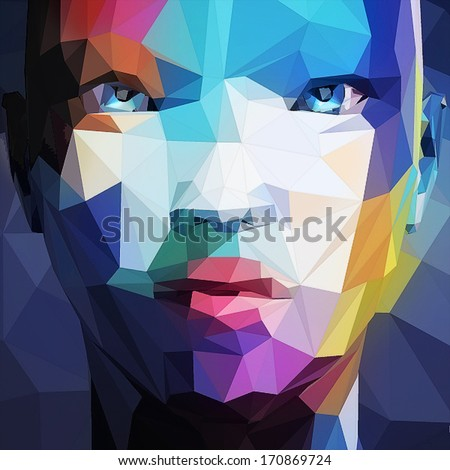 Abstract portrait of asian woman - stock vector