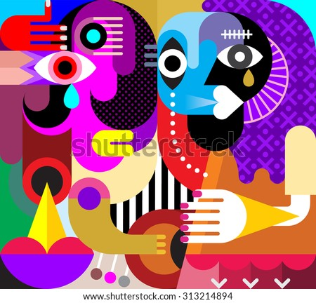 Abstract portrait of two crying women. Vector illustration. Modern fine art. - stock vector