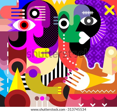 Abstract portrait of two talking beautiful women. Vector illustration. Modern fine art. - stock vector