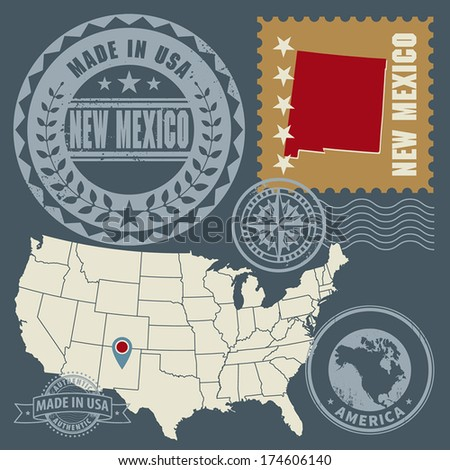 Abstract post stamps set with name and map of New Mexico, USA, vector illustration - stock vector