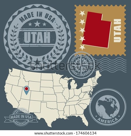 Abstract post stamps set with name and map of Utah, USA, vector illustration