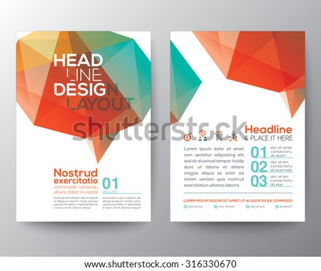 Abstract Poster Brochure Flyer design Layout vector template in A4 size with brain shape low polygon graphic element - stock vector