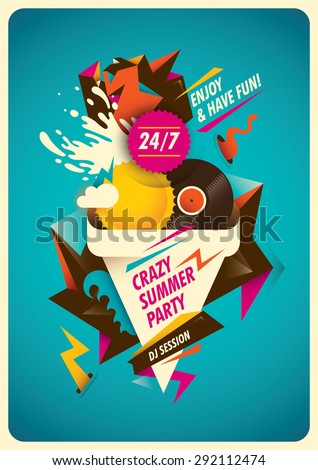 Abstract poster design for summer party. Vector illustration. - stock vector
