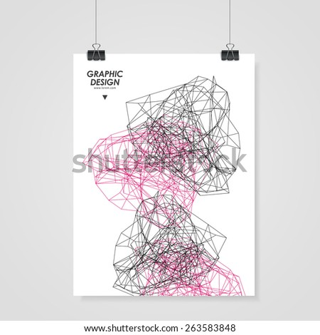 abstract poster design with modern geometric polygon element over white - stock vector