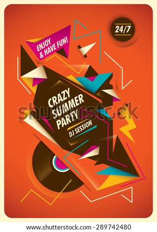 Abstract poster for summer party. Vector illustration. - stock vector
