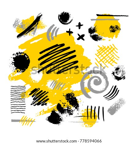 Abstract poster trendy art design yellow black white grunge ink paint brush